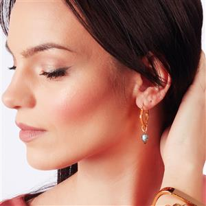 Molte Square Hoop Earrings in Gold Plated Silver