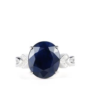 Madagascan Blue Sapphire Ring with White Topaz in Sterling Silver 10.35cts