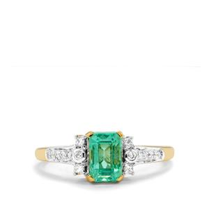 Ethiopian Emerald Ring with Diamond in 18K Gold 1.35cts