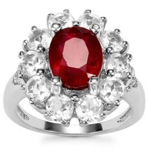 Malagasy Ruby & White Topaz Sterling Silver Iconic Ring ATGW 6.59cts (F)