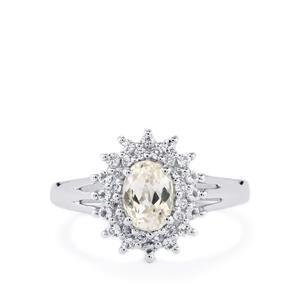 Minas Gerais Kunzite & White Topaz Sterling Silver Ring ATGW 1.55cts