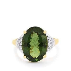 Green Apatite & Diamond 14k Gold Tomas Rae Ring ATGW 7.81cts