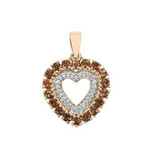 Sopa Andalusite Pendant with White Zircon in 9K Gold 1.40cts