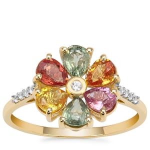 Rainbow Sapphire Ring with White Zircon in 9K Gold 2.32cts