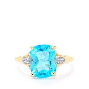 Swiss Blue Topaz & White Zircon 9K Gold Ring ATGW 4.84cts