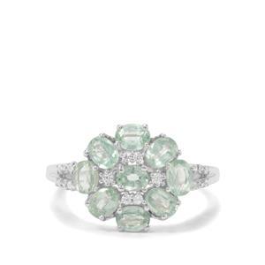 Odisha Kyanite & White Zircon Sterling Silver Ring ATGW 2.19cts