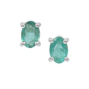 Zambian Emerald Earrings in Sterling Silver 0.88cts