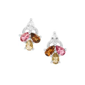 Multi-Colour Tourmaline Earrings with White Zircon in Sterling Silver 1.88cts