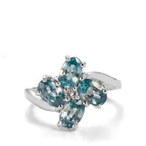 Ratanakiri Blue Zircon & White Topaz Sterling Silver Ring ATGW 2.59cts