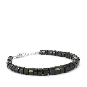 116ct Black Spinel Sterling Silver Graduated Bead Bracelet