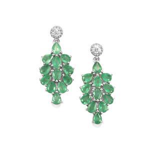 Zambian Emerald Earrings with White Zircon in Sterling Silver 3.45cts