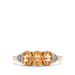 Ouro Preto Imperial Topaz & White Zircon 9K Gold Ring ATGW 1.66cts