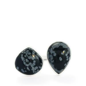 15.70ct Snowflake Obsidian Sterling Silver Aryonna Ring