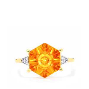Lehrer QuasarCut Padparadscha Quartz Ring with Diamond in 9K Gold 3.04cts