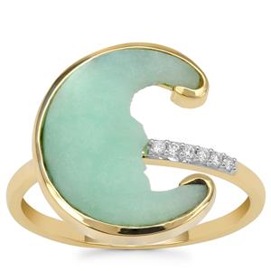 Lehrer Man in the Moon Mint Chrysoprase Ring with Diamond in 9K Gold 3.65cts