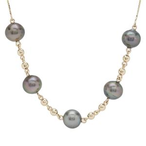Tahitian Cultured Pearl Necklace in 9K Gold (8mm)
