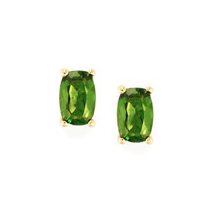 1.08ct Chrome Diopside 9K Gold Earrings