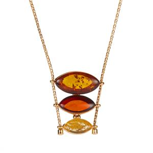 Baltic Cognac, Champagne Amber Slider Necklace with Baltic Cherry Amber in Gold Tone Sterling Silver