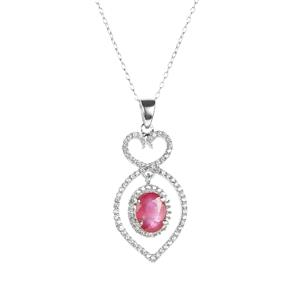 Siam Ruby Necklace with White Zircon in Sterling Silver 2.15cts (F)