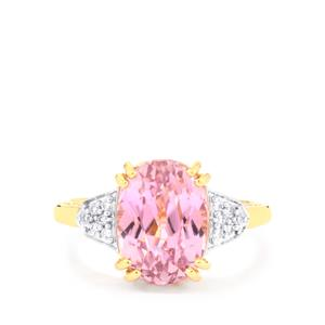 Mawi Kunzite Ring with Diamond in 18K Gold 6.41cts