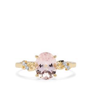 Nigerian Morganite & Diamond 9K Gold Ring ATGW 1.67cts
