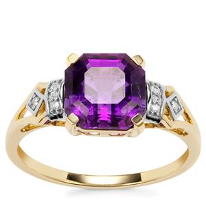 Asscher Cut Moroccan Amethyst Ring with Diamond in 10K Gold 2.28cts