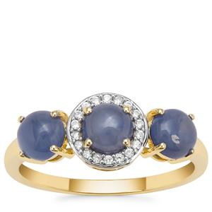 Burmese Blue Sapphire Ring with White Zircon in 9K Gold 2.35cts