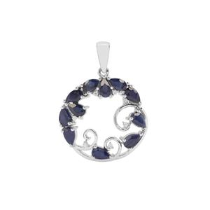 Blue Sapphire Pendant with White Zircon in Sterling Silver 3.62cts