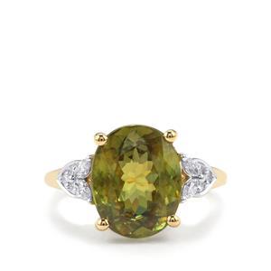 Ambilobe Sphene & Diamond 18K Gold Lorique Ring MTGW 5.86cts