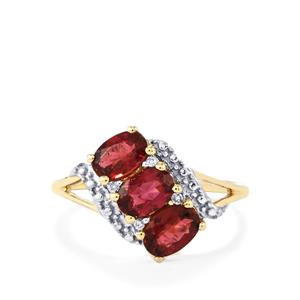 Cruzeiro Rubellite Ring with Diamond in 10K Gold 1.37cts