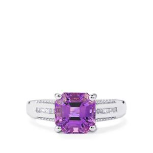 Moroccan Amethyst & White Topaz Sterling Silver Asscher Cut Ring ATGW 2.35cts