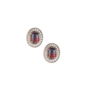 AA Ammolite Earrings with White Zircon in 9K Gold