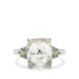 Prasiolite & Changbai Peridot Sterling Silver Ring ATGW 4.61cts