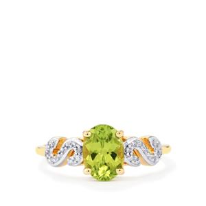 Pakistani Peridot Ring with Diamond in 9K Gold 1.36cts