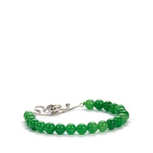 Burmese Green Jade Slider Bracelet in Sterling Silver 39.50cts