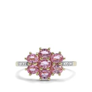 Sakaraha Pink Sapphire Ring with Diamond in 10K Gold 1.69cts