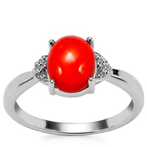 Ethiopian Red Opal Ring with White Zircon in Sterling Silver 1.11cts