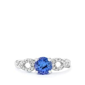 AA Tanzanite Ring with White Zircon in 10k White Gold 1.04cts
