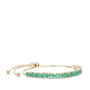 Colombian Emerald Slider Bracelet in 9K Gold 3.10cts