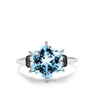 Sky Blue Topaz Wobito Snowflake Ring with Blue Diamond in 10K White Gold 5.79cts