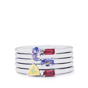 Tanzanite, Ethiopian Opal Set of 5 Stacker Rings with Rajasthan Garnet in Sterling Silver 0.90cts