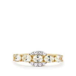 Ceylon White Sapphire Ring in 10k Gold 1.26cts