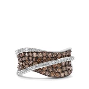 1.50ct Champagne & White Diamond Sterling Silver Ring