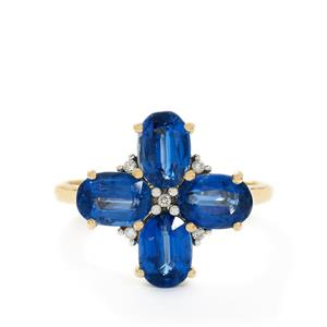 Sundar Kyanite & Diamond 9K Gold Ring ATGW 4.41cts