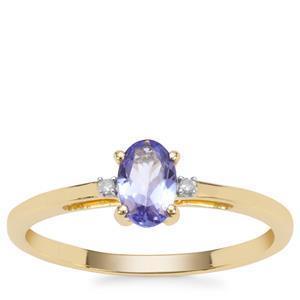 AA Tanzanite Ring with Diamond in 9K Gold 0.46ct