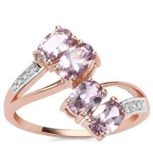 Mahenge Purple Spinel Ring with Diamond in 9K Rose Gold 1.86cts