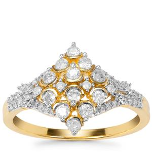 Diamond Ring in Gold Plated Sterling Silver 0.53ct