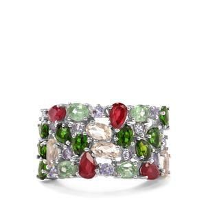 Kaleidoscopre Gemstones Ring in Sterling Silver 5.26cts