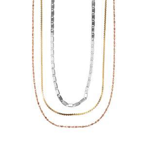 Three Tone Midas Dettaglio Diamond Cut Serpentina, Twsited Serpentina & Mariner Chain 4.47g