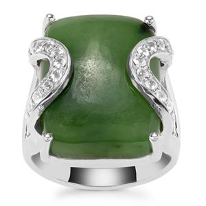 Genuine Jade Ring with White Topaz in Sterling Silver 20.36cts